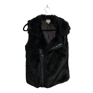 John + Jenn Faux Fur Faux Leather Vest Size Med